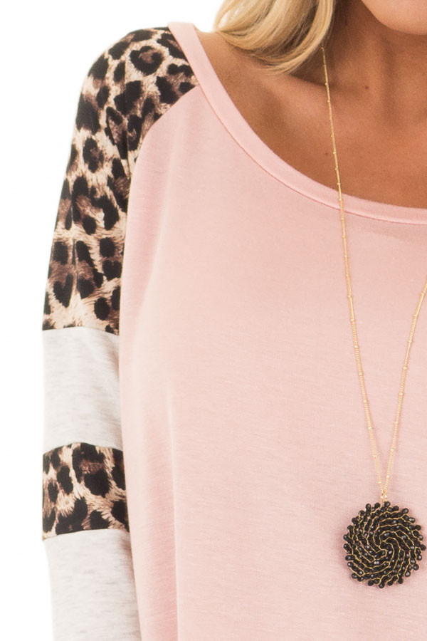 Blush Long Sleeve Top with Animal Print Contrast front detail