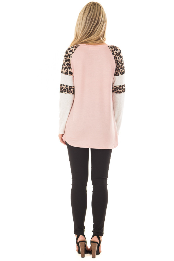 Blush Long Sleeve Top with Animal Print Contrast back full body