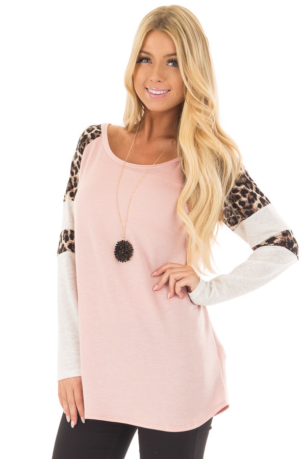 Blush Long Sleeve Top with Animal Print Contrast front closeup