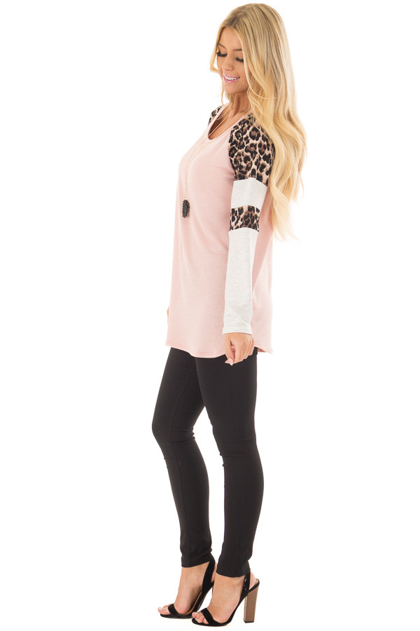 Blush Long Sleeve Top with Animal Print Contrast side full body