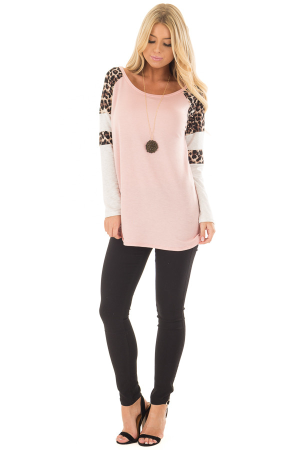 Blush Long Sleeve Top with Animal Print Contrast front full body