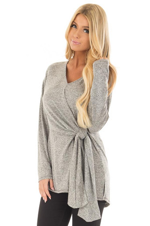 Heather Grey Two Tone Top with Front Tie Detail front closeup