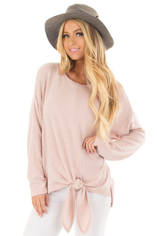 Blush Long Sleeve Top with Front Tie Detail front closeup