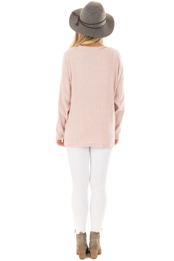 Blush Long Sleeve Top with Front Tie Detail back full body