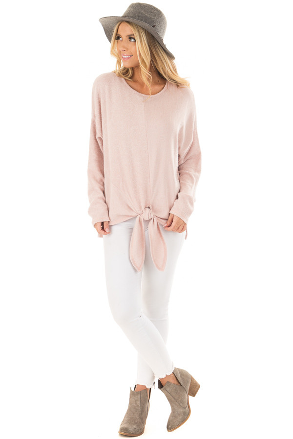 Blush Long Sleeve Top with Front Tie Detail front full body