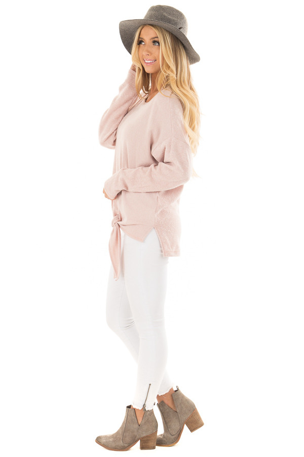 Blush Long Sleeve Top with Front Tie Detail side full body