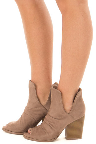 Dark Beige Slouchy Peep Toe Bootie side view