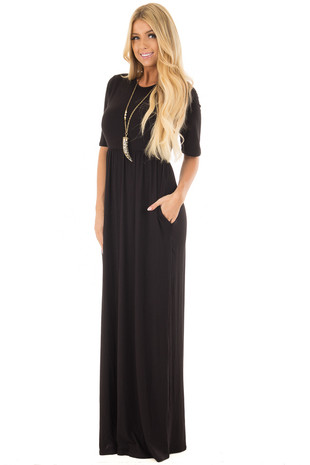Black Short Sleeve Maxi Dress with Hidden Pockets front full body