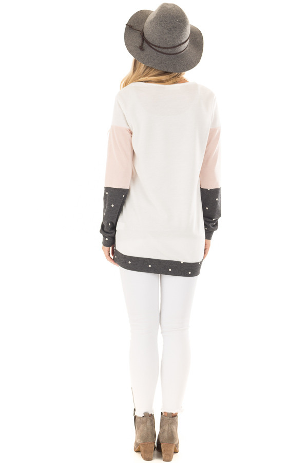 Blush Top with Charcoal Polka Dot Contrast and Side Pockets back full body