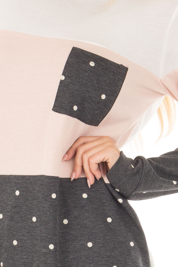 Blush Top with Charcoal Polka Dot Contrast and Side Pockets front detail