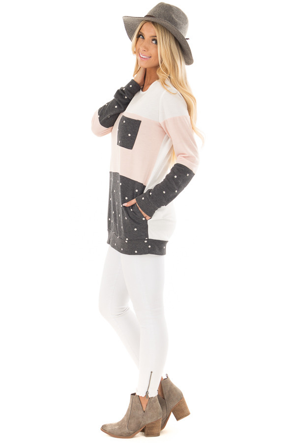 Blush Top with Charcoal Polka Dot Contrast and Side Pockets side full body