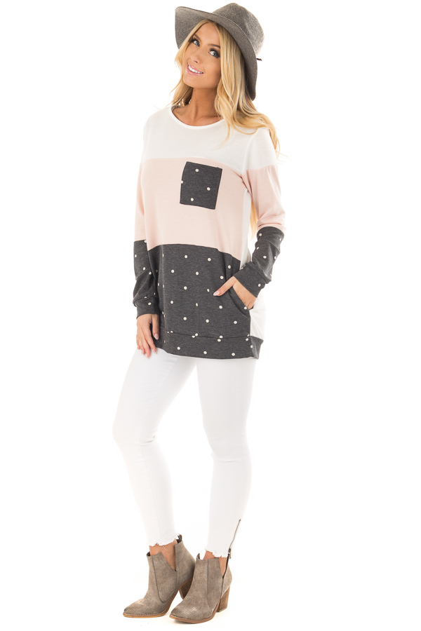 Blush Top with Charcoal Polka Dot Contrast and Side Pockets front full body