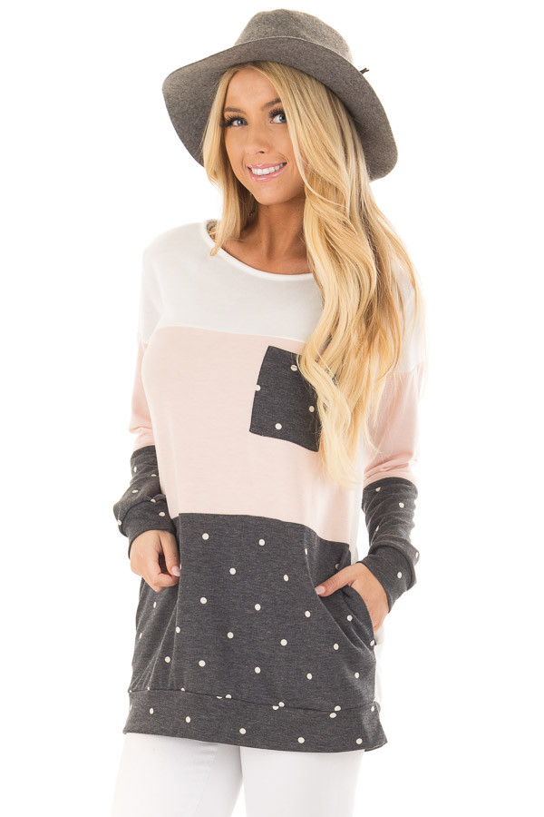 Blush Top with Charcoal Polka Dot Contrast and Side Pockets front closeup