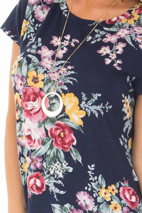 Navy Floral Print Tee Shirt front detail