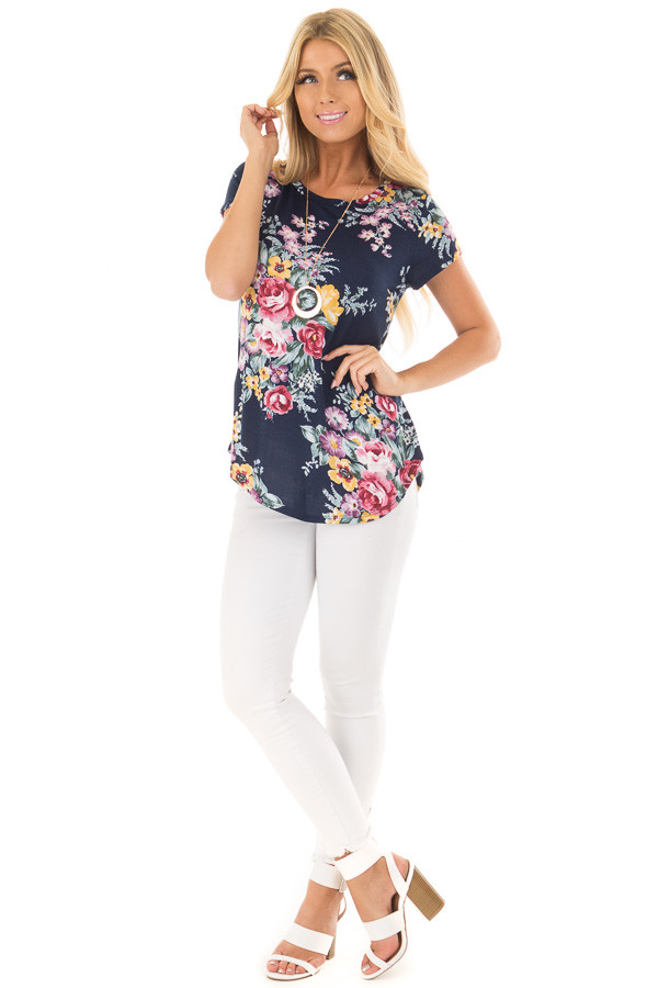 Navy Floral Print Tee Shirt front full body