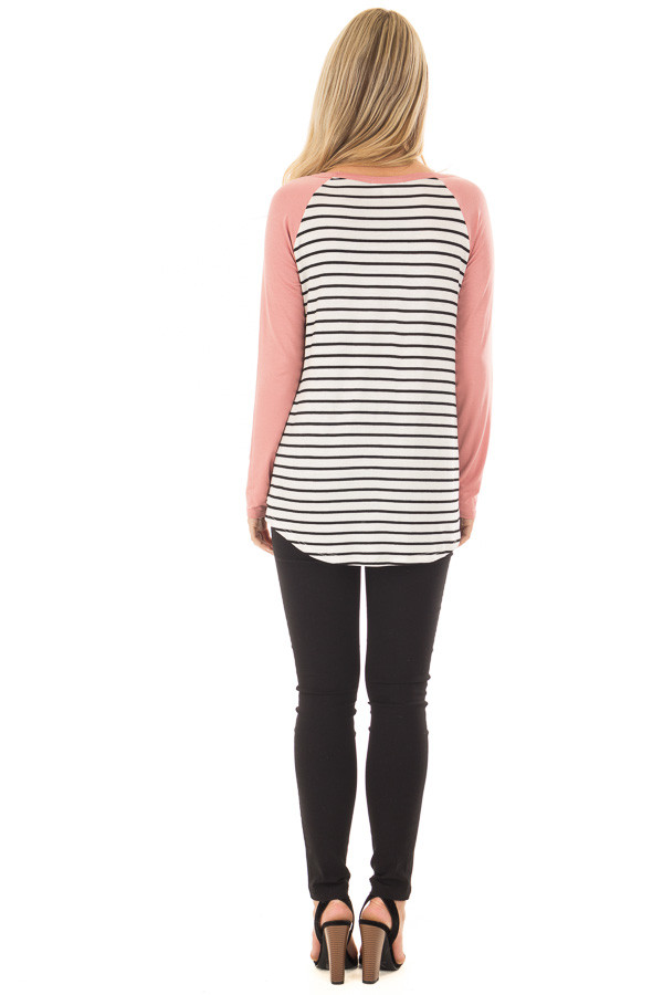 Ivory and Black Striped Top with Mauve Contrast back full body