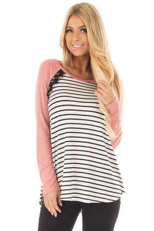 Ivory and Black Striped Top with Mauve Contrast front close up