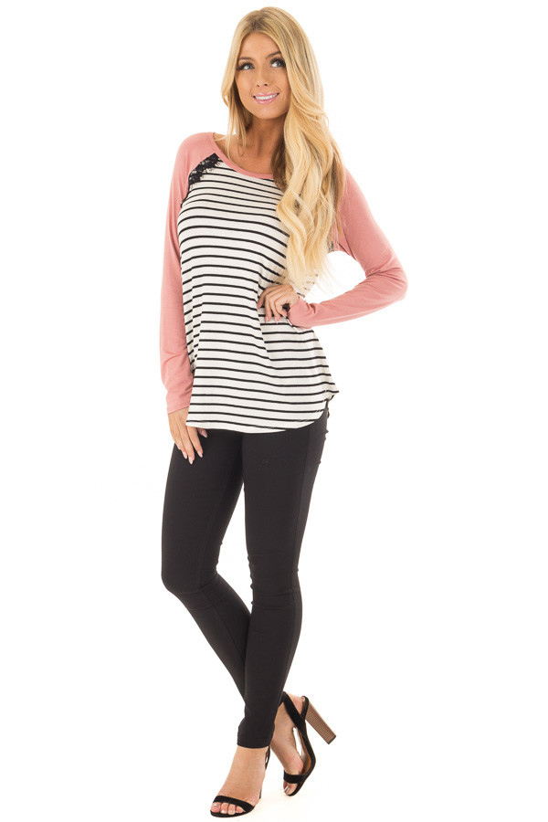 Ivory and Black Striped Top with Mauve Contrast front full body
