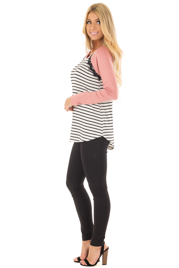 Ivory and Black Striped Top with Mauve Contrast side full body