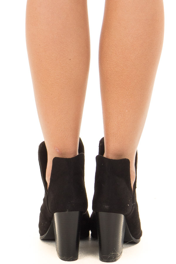 Black Slouchy Peep Toe Bootie back view