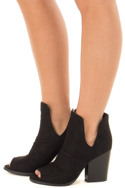 Black Slouchy Peep Toe Bootie side view
