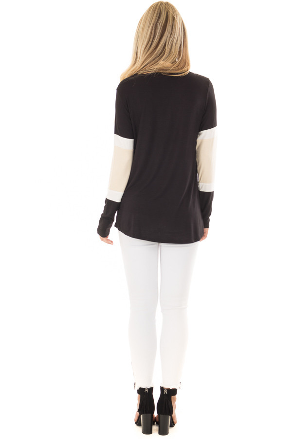 Black, Beige and White Color Block Top back full body