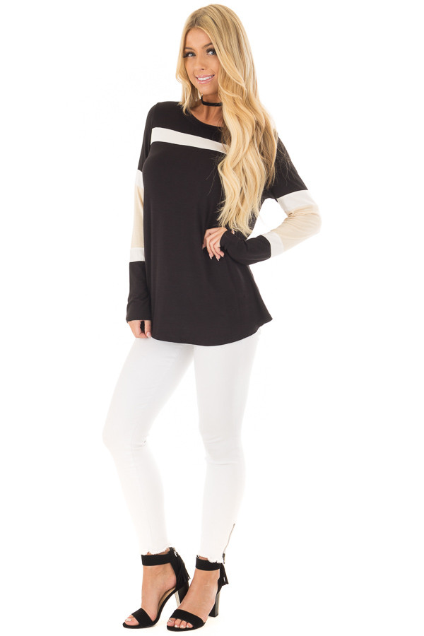 Black, Beige and White Color Block Top front full body