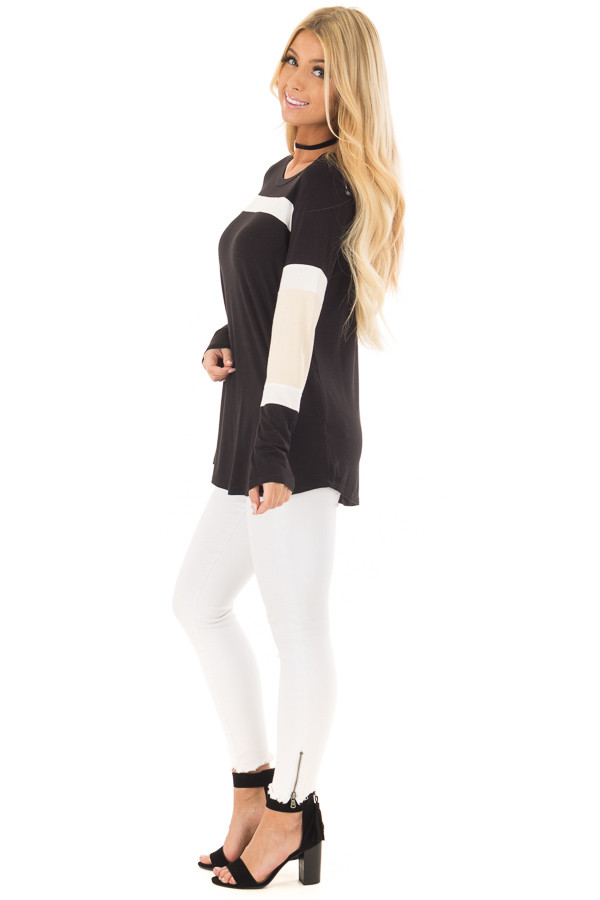 Black, Beige and White Color Block Top side full body