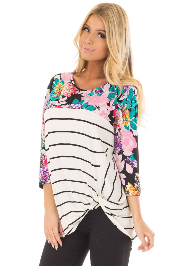 Ivory and Black Striped Top with Floral Contrast front close up