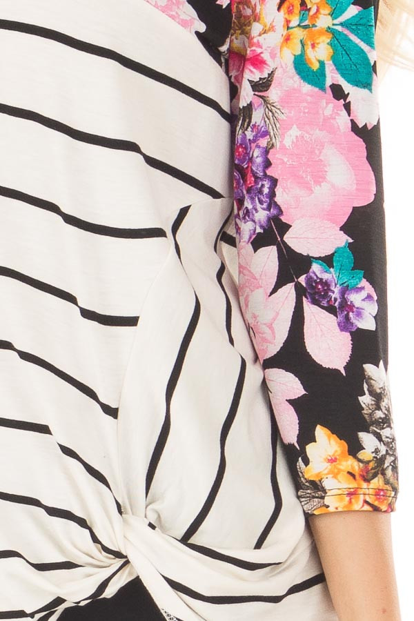 Ivory and Black Striped Top with Floral Contrast detail