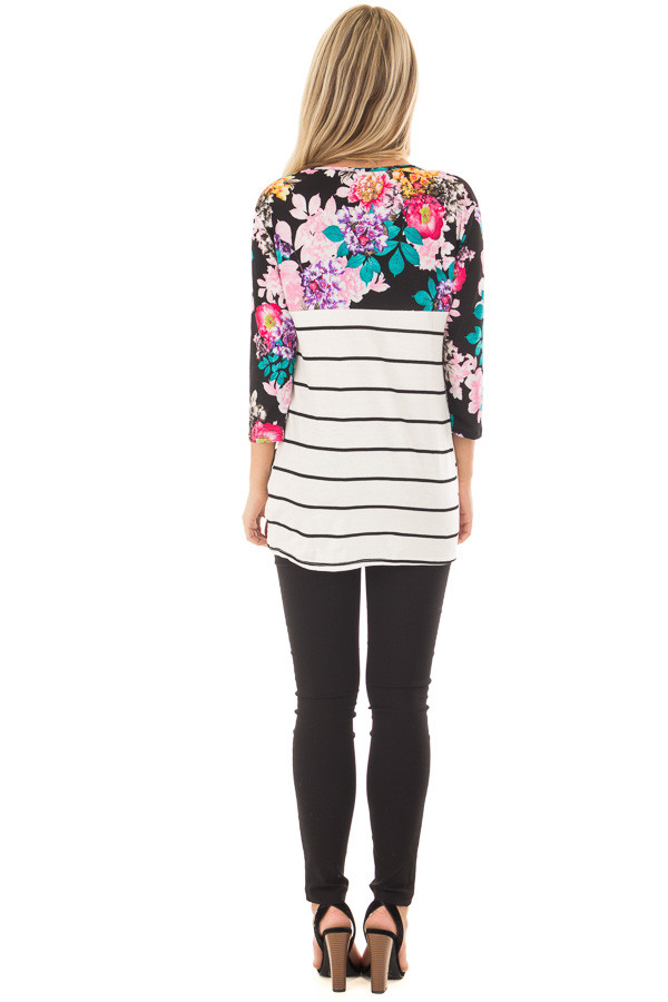 Ivory and Black Striped Top with Floral Contrast back full body