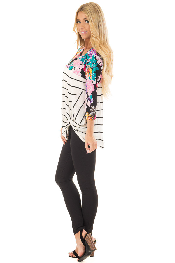 Ivory and Black Striped Top with Floral Contrast side full body