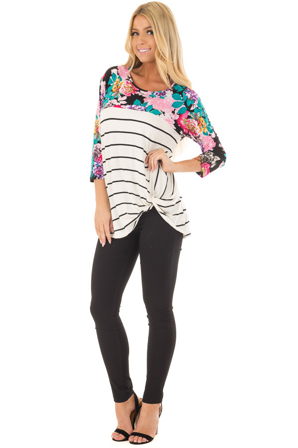 Ivory and Black Striped Top with Floral Contrast front full body