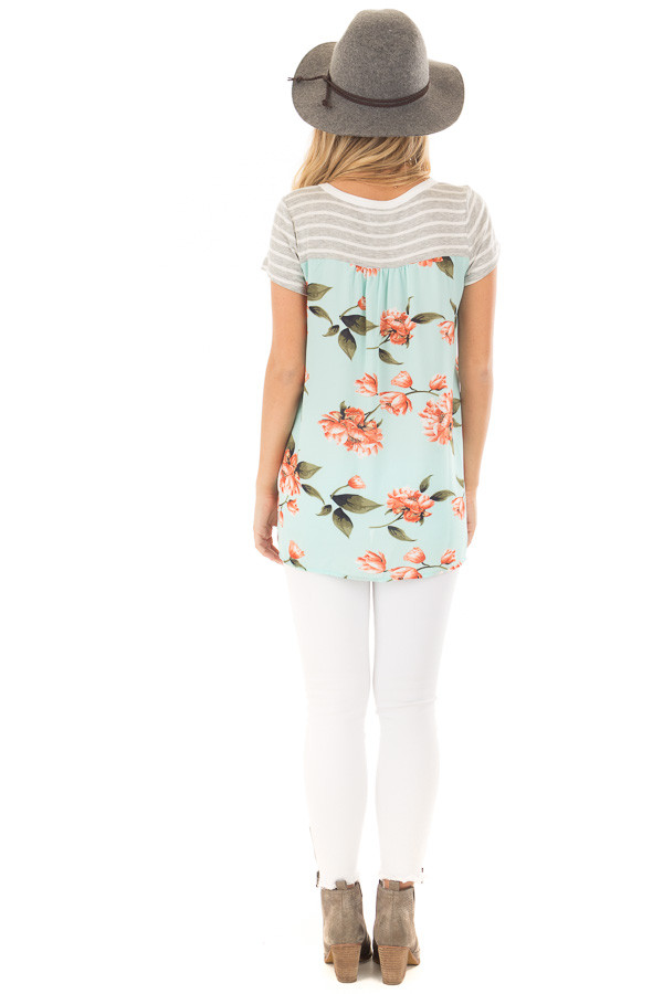 Heather Grey Striped Top with Floral Print Detail back full body