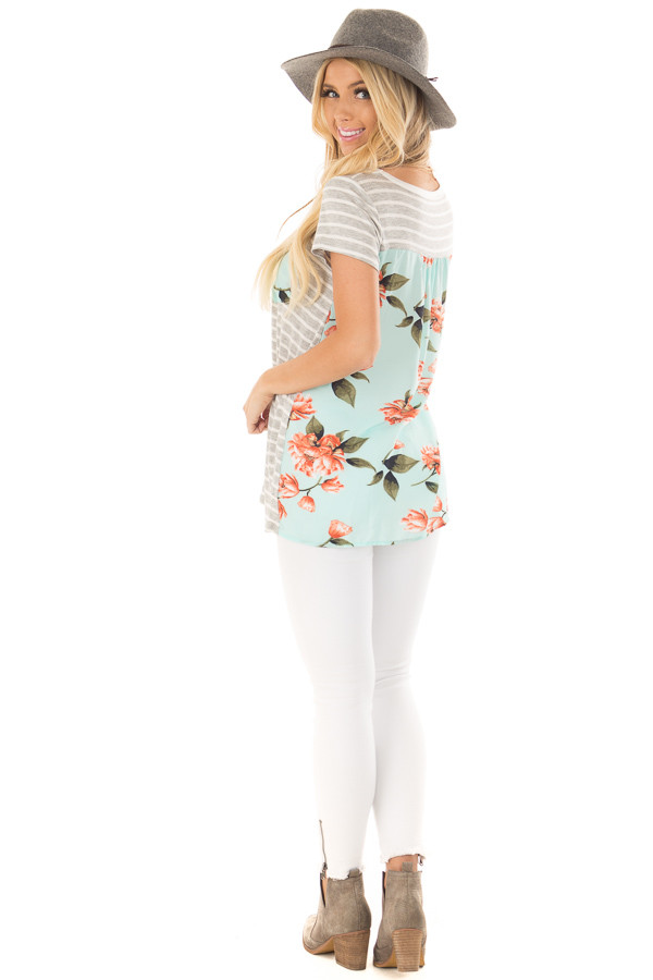 Heather Grey Striped Top with Floral Print Detail back side full body
