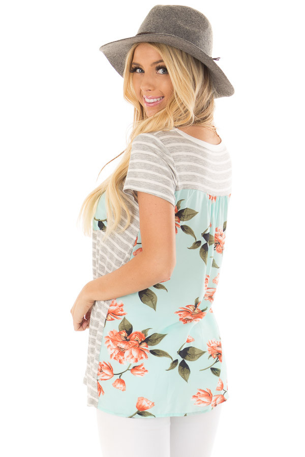 Heather Grey Striped Top with Floral Print Detail back side close up