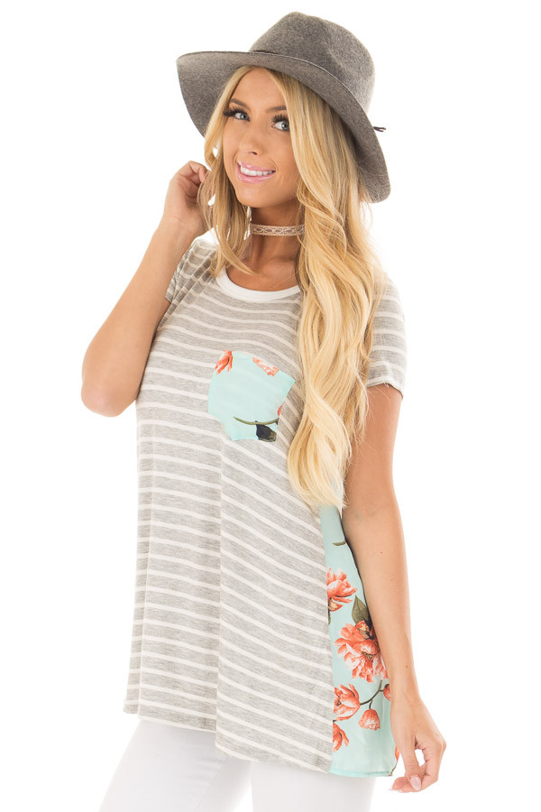 Heather Grey Striped Top with Floral Print Detail front close up