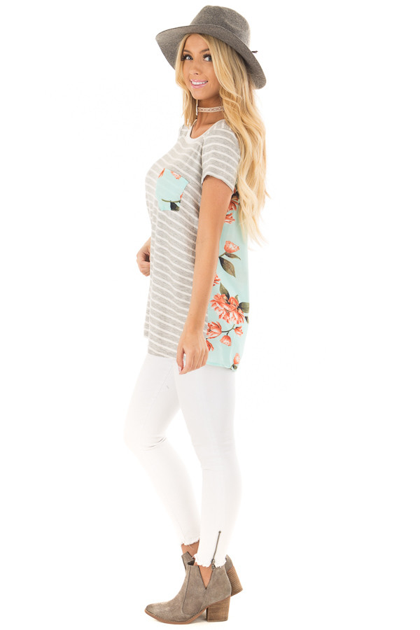 Heather Grey Striped Top with Floral Print Detail side full body