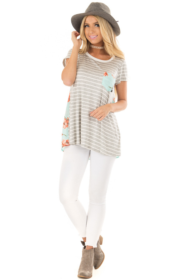 Heather Grey Striped Top with Floral Print Detail front full body
