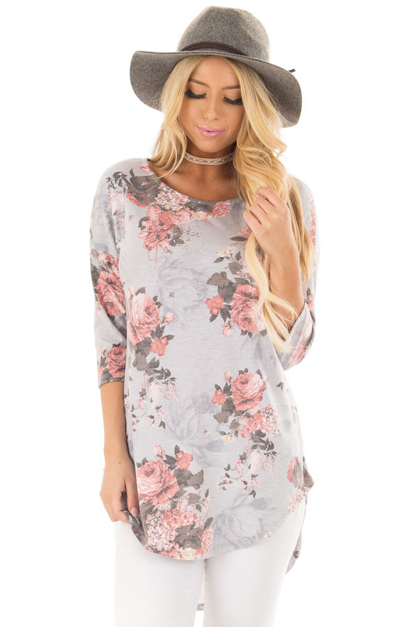 Stormy Grey 3/4 Sleeve Floral Tunic with Rounded Hemline front close up