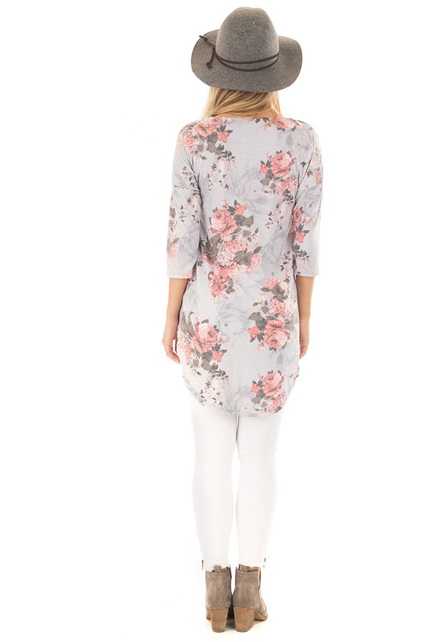 Stormy Grey 3/4 Sleeve Floral Tunic with Rounded Hemline back full body