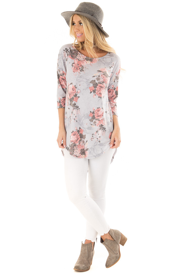 Stormy Grey 3/4 Sleeve Floral Tunic with Rounded Hemline front full body