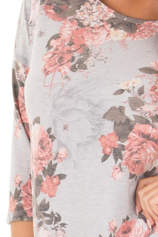 Stormy Grey 3/4 Sleeve Floral Tunic with Rounded Hemline detail