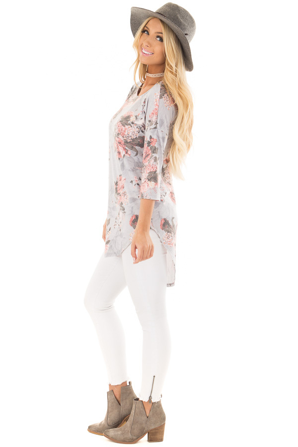 Stormy Grey 3/4 Sleeve Floral Tunic with Rounded Hemline side full body