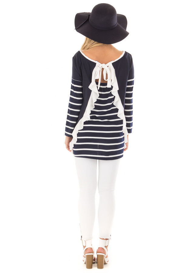 Navy Striped Top with Back Drawstring and Ruffle back full body