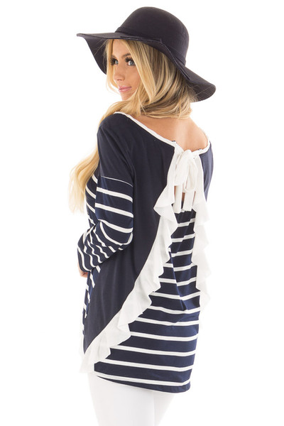 Navy Striped Top with Back Drawstring and Ruffle back side close up