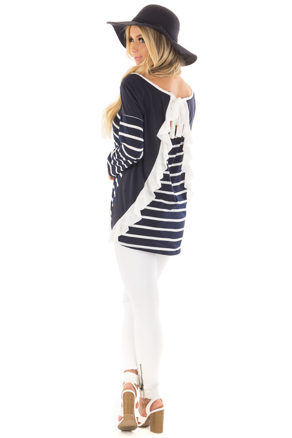 Navy Striped Top with Back Drawstring and Ruffle back side full body