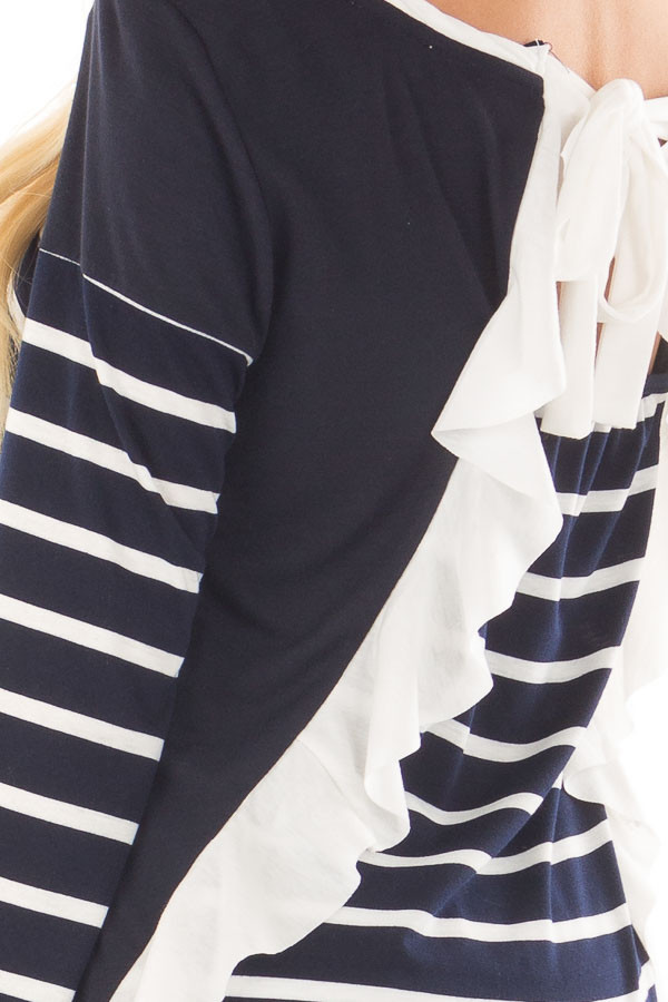 Navy Striped Top with Back Drawstring and Ruffle detail