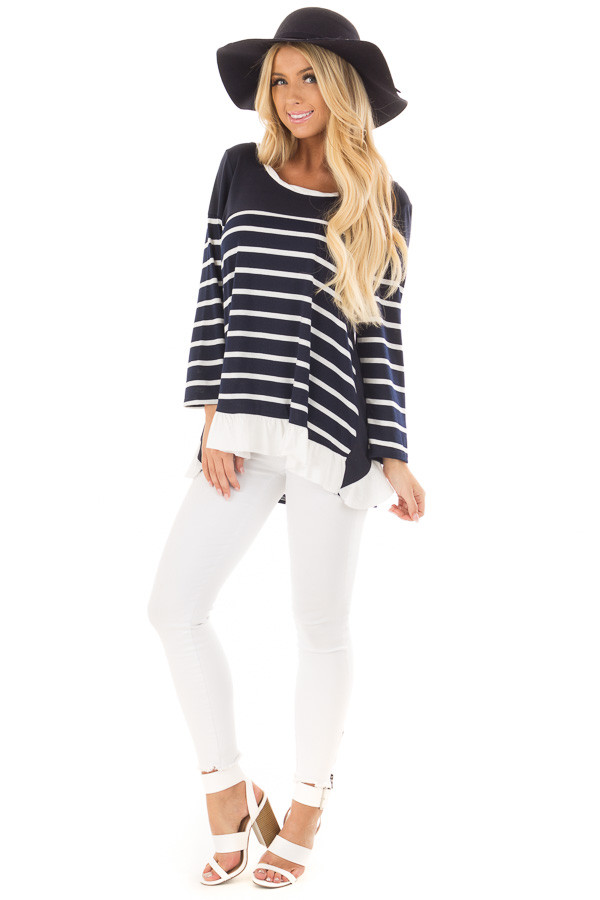 Navy Striped Top with Back Drawstring and Ruffle front full body