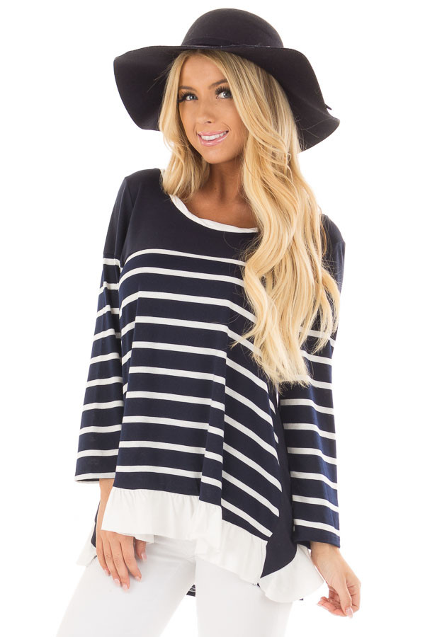 Navy Striped Top with Back Drawstring and Ruffle front close up